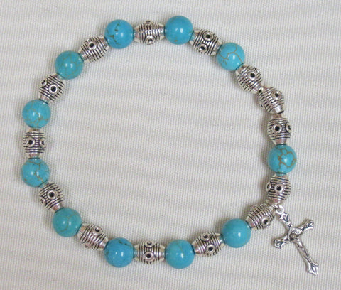 Rosary Bracelet Genuine Stone Turquoise Default Title - St. Patrick's Gift Shop & Bookstore