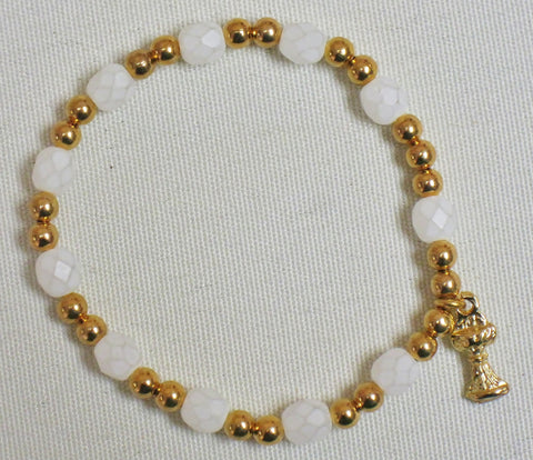 First Communion Rosary Pearl Crystal Cut Bracelet/Gold Tone Default Title - St. Patrick's Gift Shop & Bookstore