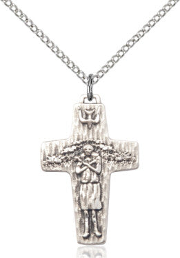 "SS Small Papal Crucifix 0569/ SN 18"" Curb Chain  - St. Patrick's Gift Shop & Bookstore"