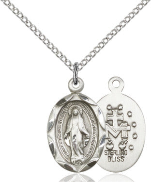 "SS Miraculous Medal 0612M/ SN 18"" Curb Chain  - St. Patrick's Gift Shop & Bookstore"