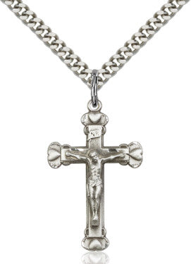 "SS Heart Crucifix Engraved/ 18"" Curb Chain  - St. Patrick's Gift Shop & Bookstore"