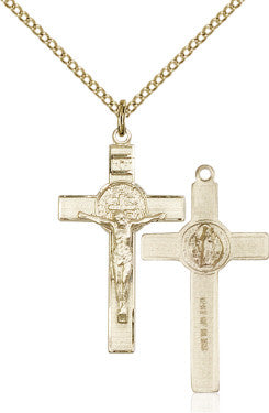 "GF Benedict Crucifix Engraved 0625/ SG 24"" Curb Chain  - St. Patrick's Gift Shop & Bookstore"