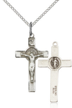 "SS Benedict Crucifix Engraved/ 24"" Curb Chain  - St. Patrick's Gift Shop & Bookstore"