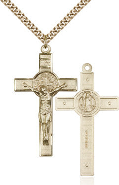 "GF Benedict Crucifix Engraved 0645/ SG 24"" Curb Chain  - St. Patrick's Gift Shop & Bookstore"