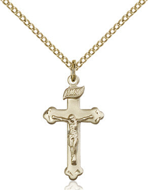 "GF Crucifix Engraved 0669/ GF 18"" Curb Chain  - St. Patrick's Gift Shop & Bookstore"