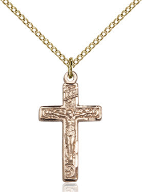"GF Crucifix Engraved/ 18"" Curb Chain  - St. Patrick's Gift Shop & Bookstore"