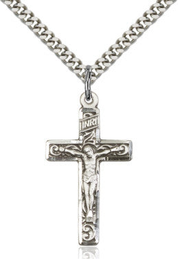 "SS Crucifix Engraved/ 24"" Curb Chain  - St. Patrick's Gift Shop & Bookstore"