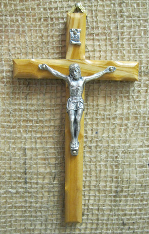 "Medium Brown Wood Crucifix with Silver Corpus - 7""  - St. Patrick's Gift Shop & Bookstore"
