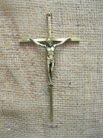 Brass/Bronze Tone Metal Crucifix  - St. Patrick's Gift Shop & Bookstore