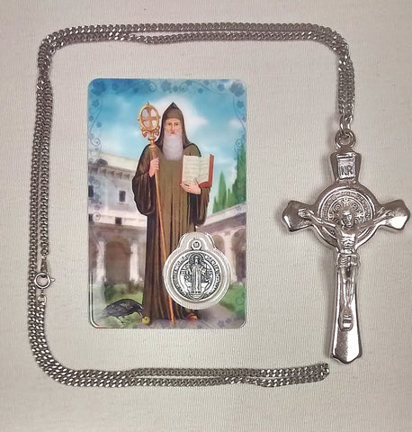 "3"" Benedictine Crucifix Pewter on Chain in Box w/ St. Benedict Medal Card  - St. Patrick's Gift Shop & Bookstore"