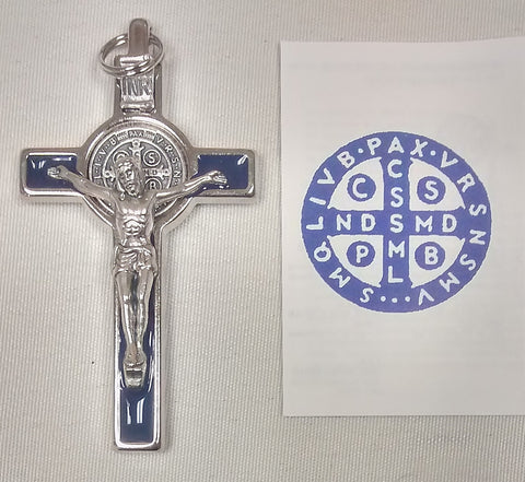 "3"" Benedictine Crucifix Blue Enamelled in Box  - St. Patrick's Gift Shop & Bookstore"
