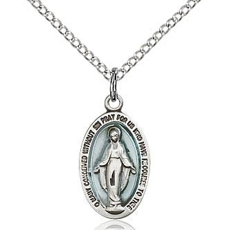"SS Blue Miraculous Medal 4122EM/ SN 18"" Curb Chain  - St. Patrick's Gift Shop & Bookstore"