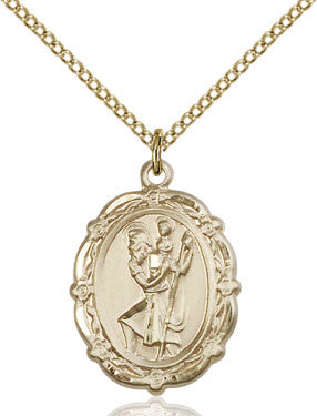"GF St. Christopher Medal 4146C/ GP 18"" Curb Chain  - St. Patrick's Gift Shop & Bookstore"