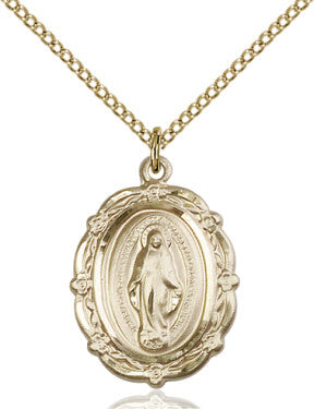 "GF Miraculous Medal/ 18"" Curb Chain  - St. Patrick's Gift Shop & Bookstore"
