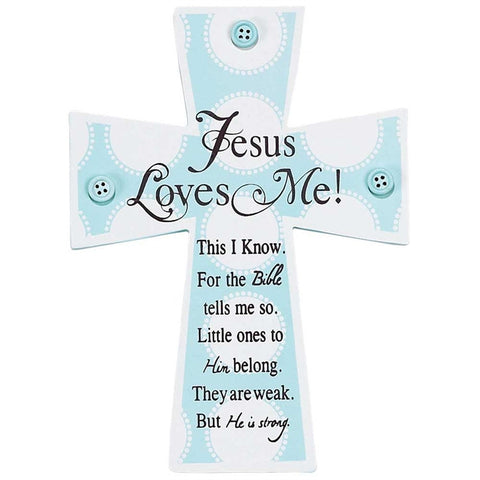 Jesus Loves Me Blue Button Cross  - St. Patrick's Gift Shop & Bookstore