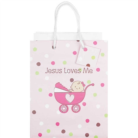 Jesus Loves Me Pink Gift Bag  - St. Patrick's Gift Shop & Bookstore