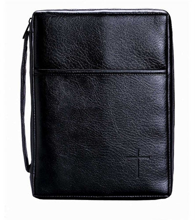 "Black ""Leather"" Bible Case w/ Front Pocket & Debossed Cross  - St. Patrick's Gift Shop & Bookstore"