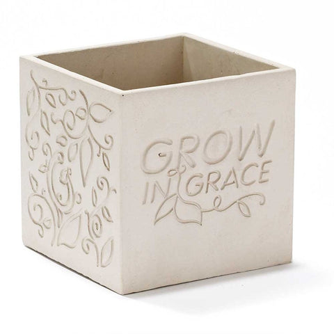 Cement Garden Pot - Grow in Grace  - St. Patrick's Gift Shop & Bookstore