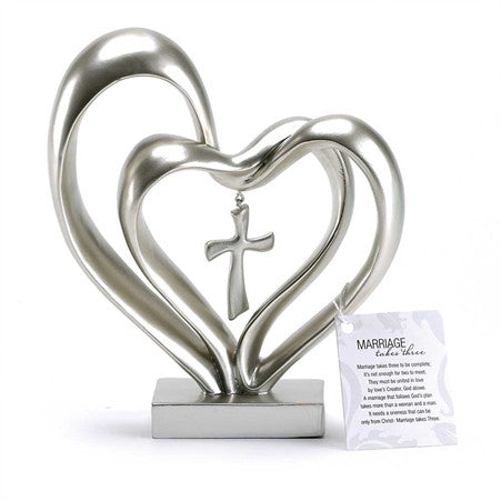 Marriage Takes Three Double Heart with Cross  - St. Patrick's Gift Shop & Bookstore