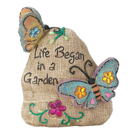 Cement Garden Rock - Life Began in a Garden  - St. Patrick's Gift Shop & Bookstore
