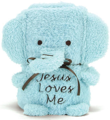 Jesus Loves Me Blue Elephant Baby Blanket  - St. Patrick's Gift Shop & Bookstore