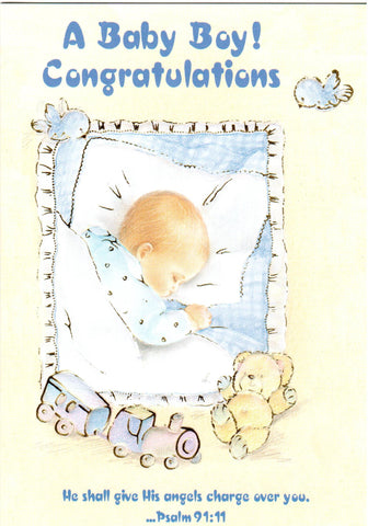 A Baby Boy! Congratulations (Psalm 91:11)  - St. Patrick's Gift Shop & Bookstore