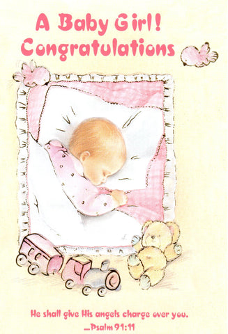 A Baby Girl! Congratulations (Ps. 91:11)  - St. Patrick's Gift Shop & Bookstore