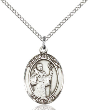 "SS St. Augustine Oval Medal/ 24"" Curb Chain  - St. Patrick's Gift Shop & Bookstore"