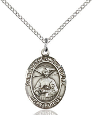 "SS St. Catherine Laboure Oval Medal/ 18"" Curb Chain  - St. Patrick's Gift Shop & Bookstore"