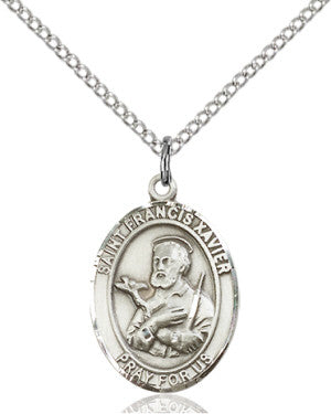 "SS St. Francis Xavier Oval Medal/ 24"" Curb Chain  - St. Patrick's Gift Shop & Bookstore"