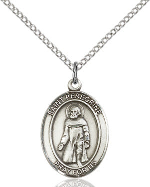 "SS St. Peregrine Oval Medal/ 24"" Curb Chain  - St. Patrick's Gift Shop & Bookstore"