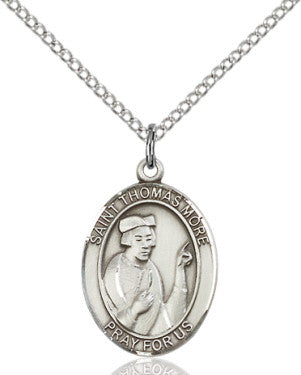 "SS St. Thomas More Oval Medal/ 18"" Curb Chain  - St. Patrick's Gift Shop & Bookstore"