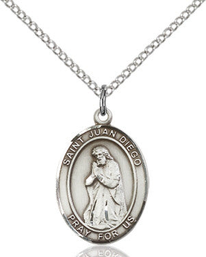 "SS St. Juan Diego Oval Medal/ 24"" Curb Chain  - St. Patrick's Gift Shop & Bookstore"