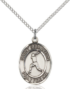 "SS St. Sebastian-Baseball Oval Medal 8160/ SN 24"" Curb Chain  - St. Patrick's Gift Shop & Bookstore"