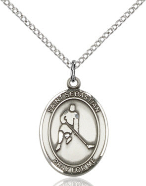 "SS St. Sebastian-Ice Hockey Oval Medal/ 24"" Curb Chain  - St. Patrick's Gift Shop & Bookstore"