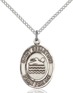 "SS St. Sebastian-Swimming Oval Medal 8167/ SN 24"" Curb Chain  - St. Patrick's Gift Shop & Bookstore"