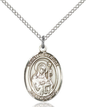 "SS St. Gertrude Oval Medal/ 24"" Curb Chain  - St. Patrick's Gift Shop & Bookstore"