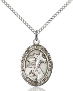 "SS St. Bernard Clairvaux Oval Medal/ 24"" Curb Chain  - St. Patrick's Gift Shop & Bookstore"