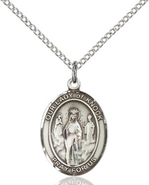 "SS Our Lady of Knock Oval Medal 8246/ SN 24"" Curb Chain  - St. Patrick's Gift Shop & Bookstore"