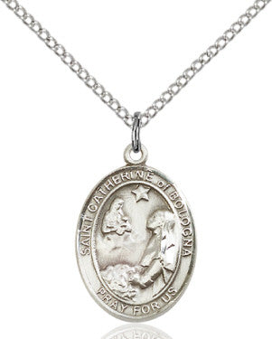 "SS St. Catherine of Bologna Oval Medal/ 18"" Curb Chain  - St. Patrick's Gift Shop & Bookstore"