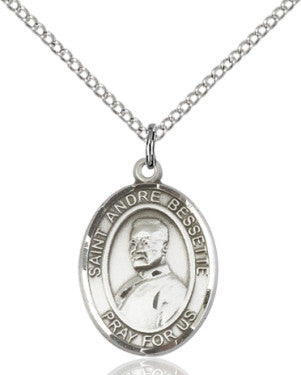 "SS St. Andre Bessette Oval Medal/ 24"" Curb Chain  - St. Patrick's Gift Shop & Bookstore"