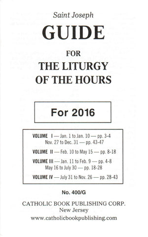 Saint Joseph Guide for the Liturgy of the Hours - 2016  - St. Patrick's Gift Shop & Bookstore