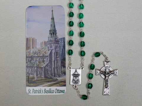 St. Patrick's Basilica Rosary Green Crystal Cut Beads Default Title - St. Patrick's Gift Shop & Bookstore