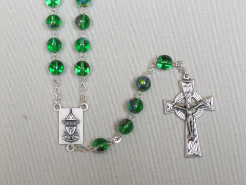 St. Patrick's Basilica Rosary Green Round AB Beads (Not Boxed) Default Title - St. Patrick's Gift Shop & Bookstore