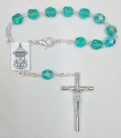 St. Patrick's Basilica Single Decade Rosary Green Crystal Cut Beads  - St. Patrick's Gift Shop & Bookstore