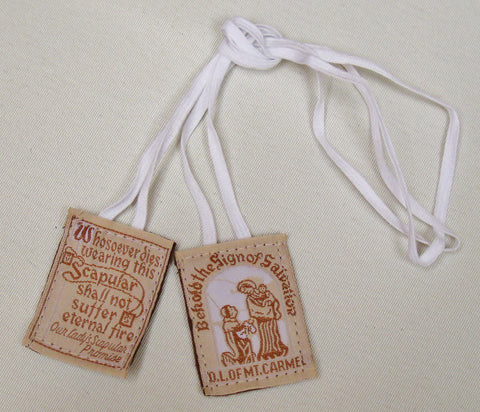 Cloth Scapular (White Cord) $2.95  - St. Patrick's Gift Shop & Bookstore