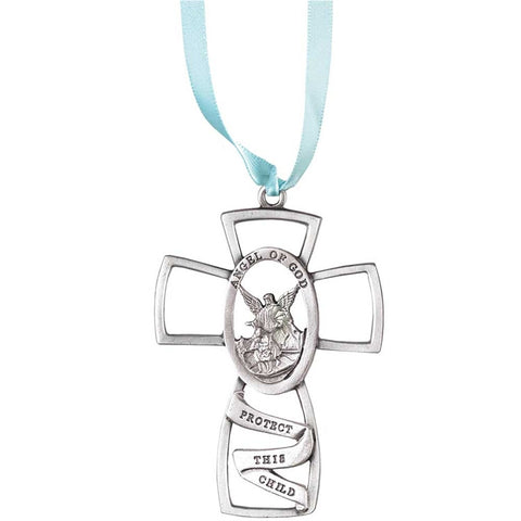 Angel of God, Protect This Child Crib Cross - Blue