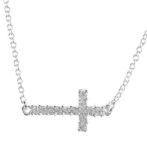"SP Small Sideways First Communion Cross/ 16"" Chain"