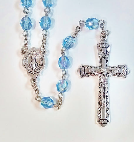 Crystal Cut Rosary Light Sapphire AB/Silver Tone