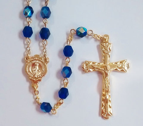 Crystal Cut Rosary Smoky Cobalt AB Gold Tone